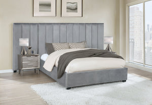 Ariel Grey Channel Tufted Bed