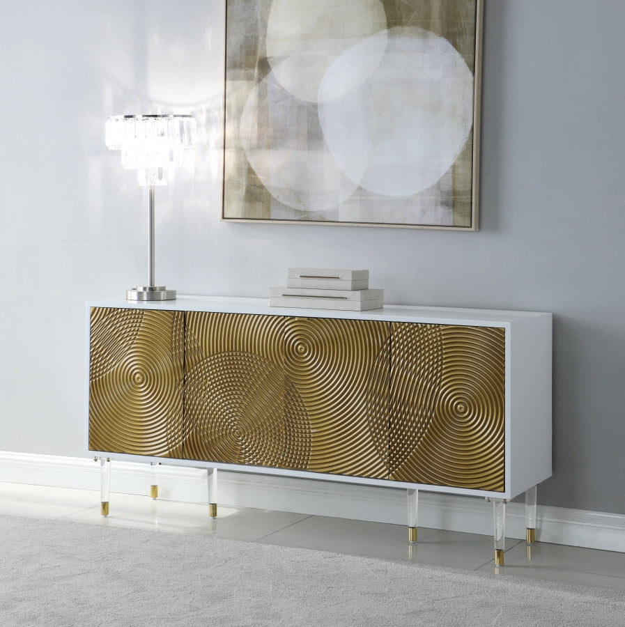 Noelle White Sideboard with Gold Doors and Acrylic Legs