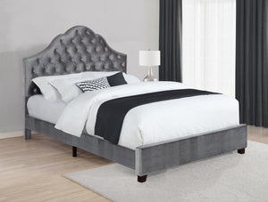 Abbey Grey Velvet Upholstered Bed