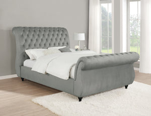 Seymour Grey Velvet Tufted Sleigh Bed
