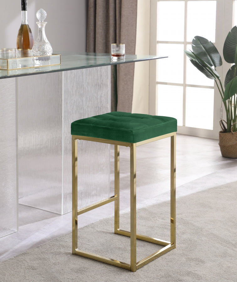 Nick Velvet Stool with Gold Frame in 5 Color Options