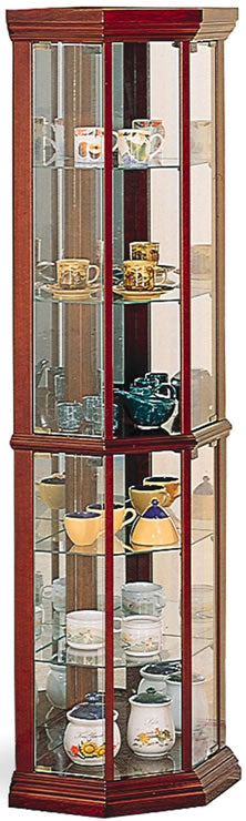 Solid Wood Cherry Glass Corner Curio Cabinet