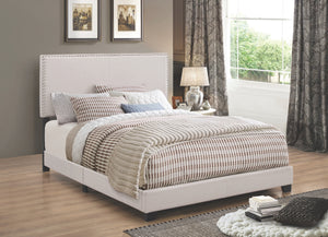 Boyce Fabric Upholstered Bed with Nailhead Trim in Ivory, Charcoal, Grey, or Brown
