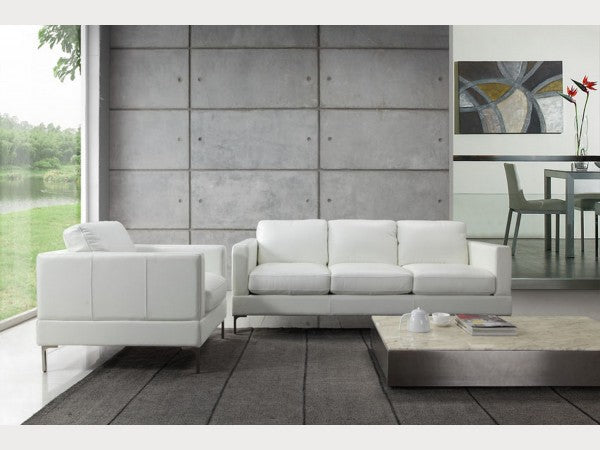 Tobia Snow Leather Living Room Collection