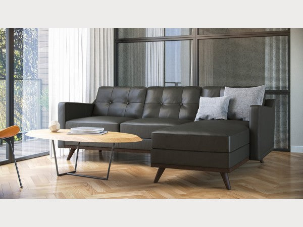 Monika Tufted Mid-Century full Leather sectional by Moroni