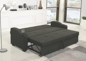 Charcoal Grey Fabric Sofa Sleeper with Cupholders
