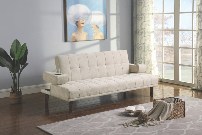 Joanne Convertible Sofa in Beige or Moss Fabric