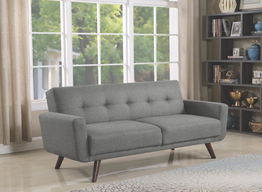 Mid Century Grey Fabric Tufted Convertible Sofa