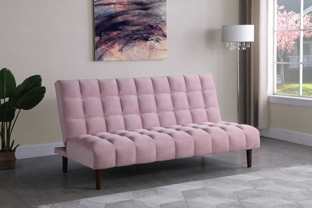 Tufted Velvet Convertible Sofa Sleeper in Pink or Teal
