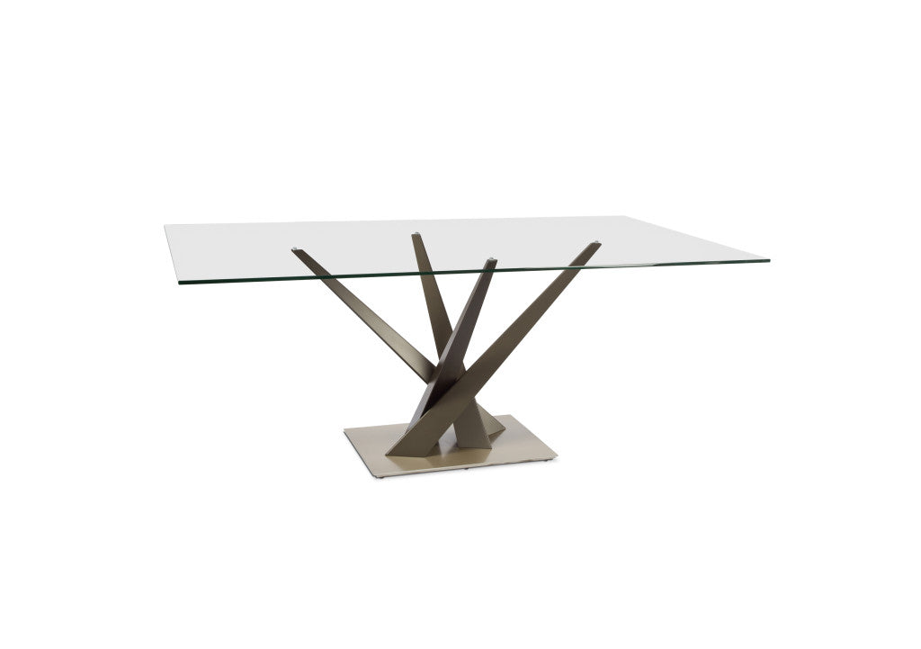 Crystal Rectangular Glass Dining Table in 2 Sizes