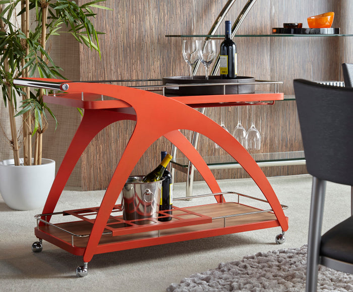 Mollino Bar/Serving Cart with Wine Glass Holder