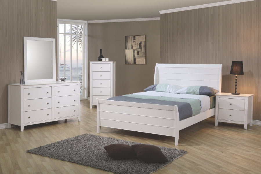 Selena Matte White Sleigh Bedroom Collection