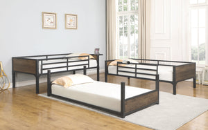 Twin Convertible Triple Bunk Bed Matte Black