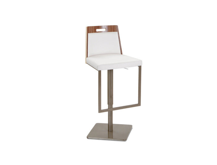 Tyler Contemporary Adjustable Barstool with Contoured Walnut Back