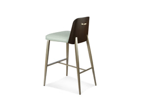 Coco Contemporary Stool with Curve Walnut Back in Counter or Bar Height