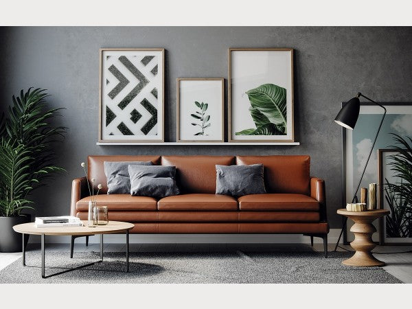 Rica Leather Living Room Collection in Tan or Black