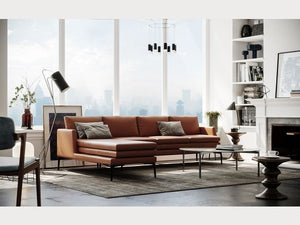 Moroni Rica Tan Leather Sectional
