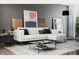 Murray White Tufted Leather Sectional