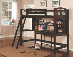 Paris Twin Workstation Loft Bed in Cappuccino