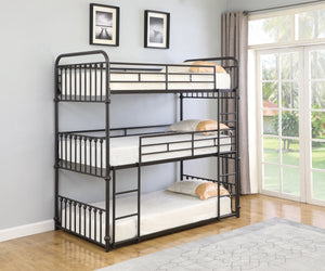 Dark Bronze Twin Triple Bunk Bed