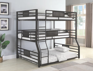 Roger Triple Bunk Bed in Full over Twin over Queen