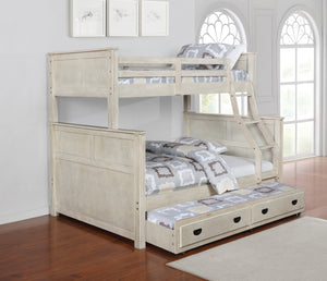 Antique White Twin over Full Bunk Bed with Optional Trundle