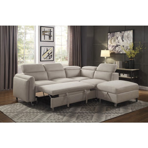 Virgo Beige Pull Out Sleeper Sectional