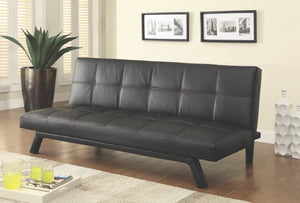 Black Leatherette Convertible Sofa with Red Contrast Stitching