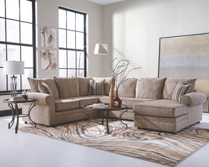 Haven U-Shaped Fabric Sectional with Rolled Arms