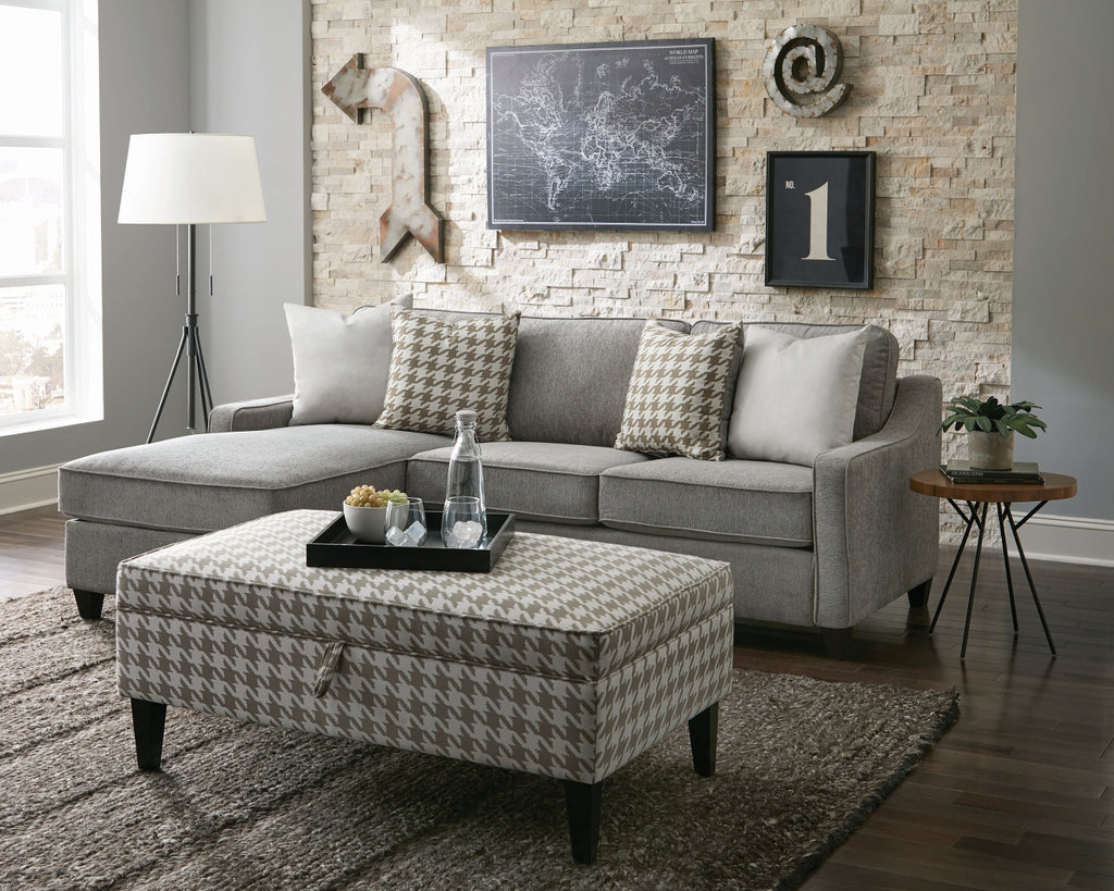 Macy Reversible Fabric Sectional in Charcoal or Cream