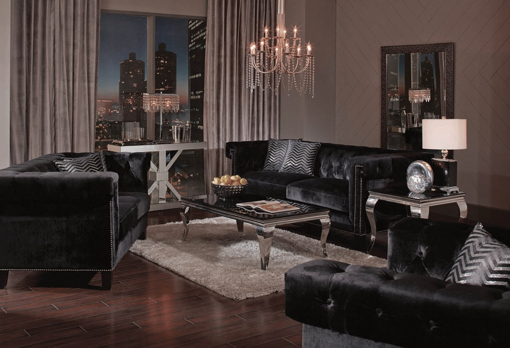 Riviera Black Velvet Glam Living Room Collection