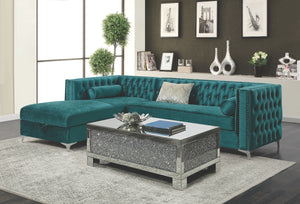 Bell Tufted Velvet Sectional in Teal or Silver