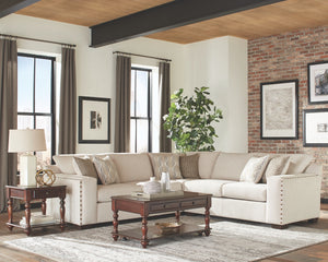Aries Oatmeal Chenille Sectional with Decorative Nailheads