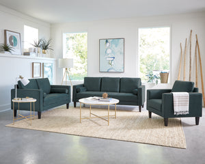 Gunter Dark Teal Fabric Living Room Collection