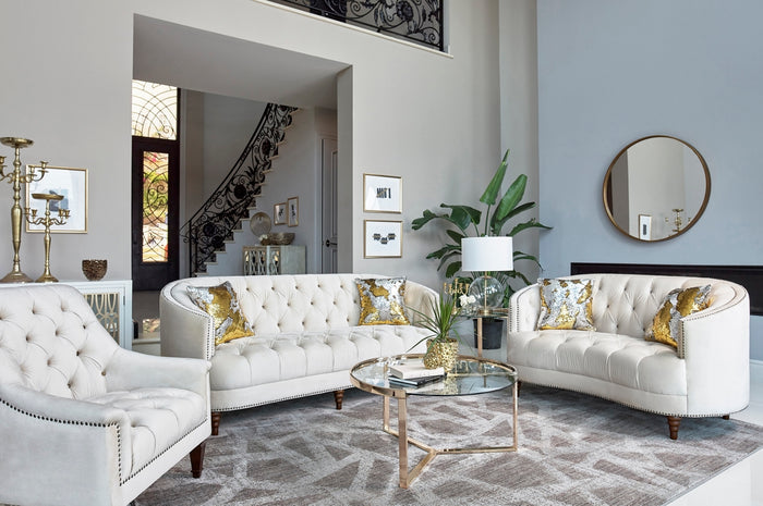 Leah Off White Velvet Tufted Living Room Collection