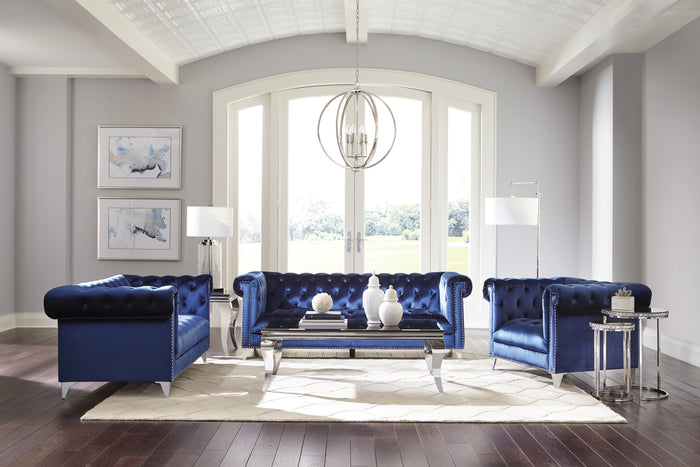 Becker Blue Velvet Living Room Collection