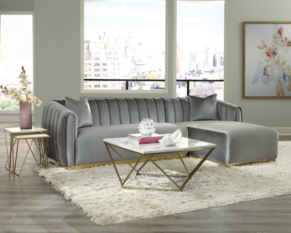 Silver Velvet Sectional with Gold Base