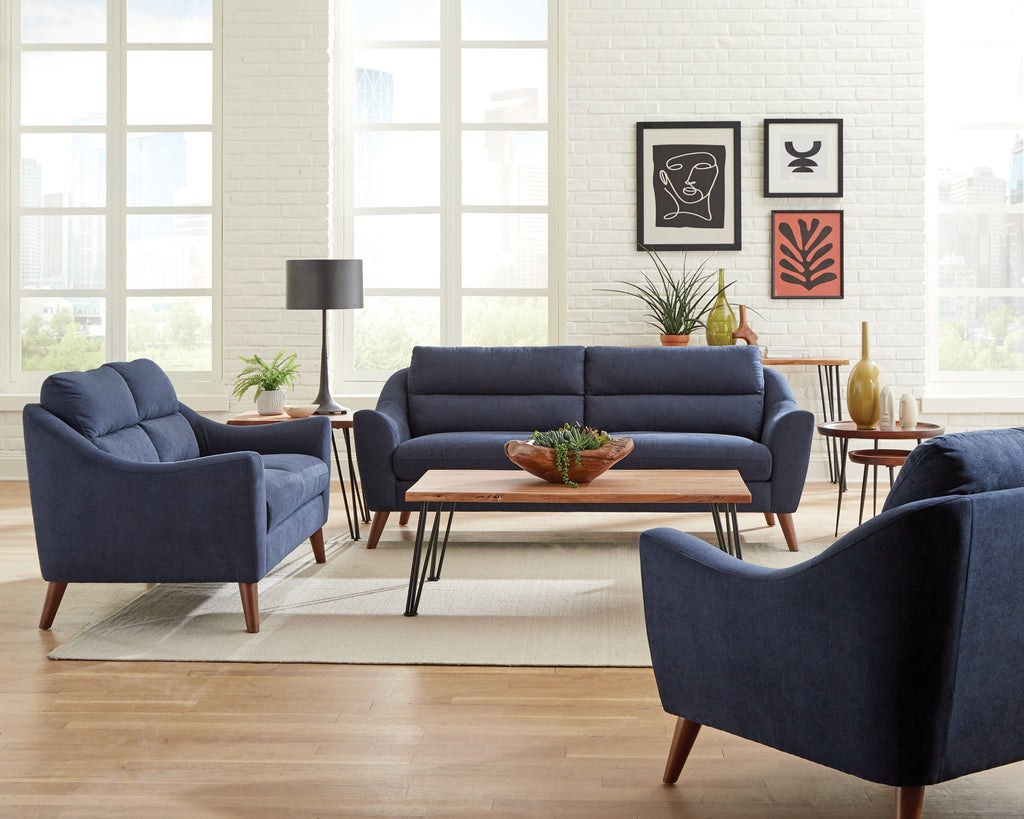 Gaines Navy Fabric Living Room Collection