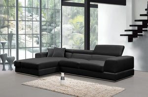 Pelagia Mini Leather Sectional in Black or Taupe