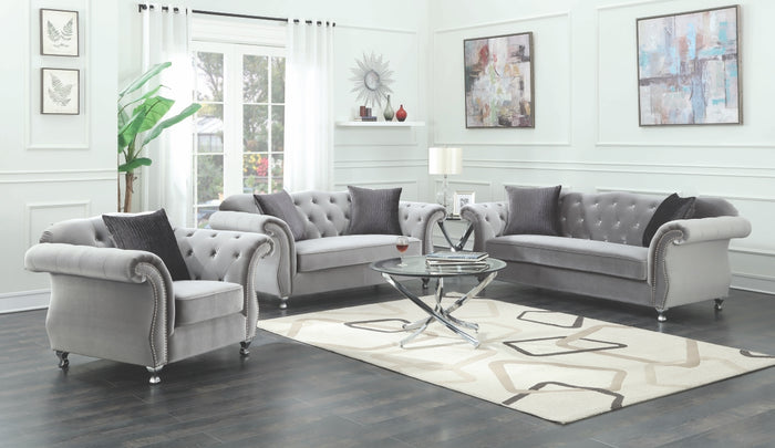 Christine Silver Tufted Living Room Collection