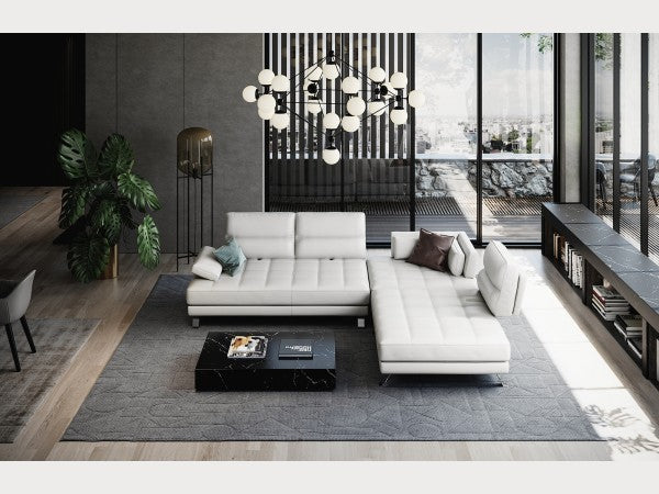 Teva Leather Sectional with Movable Back Mechanism