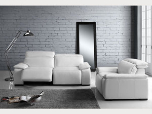 Yorbita White Leather Reclining Living Room Collection