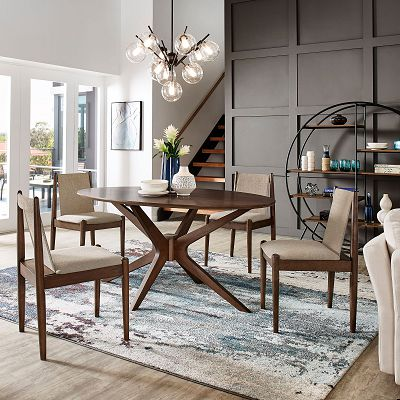 Walnut Sunburst Oval Dining Room Collection