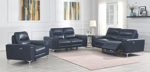 Margie Leather Reclining Living Room Collection in Navy or White