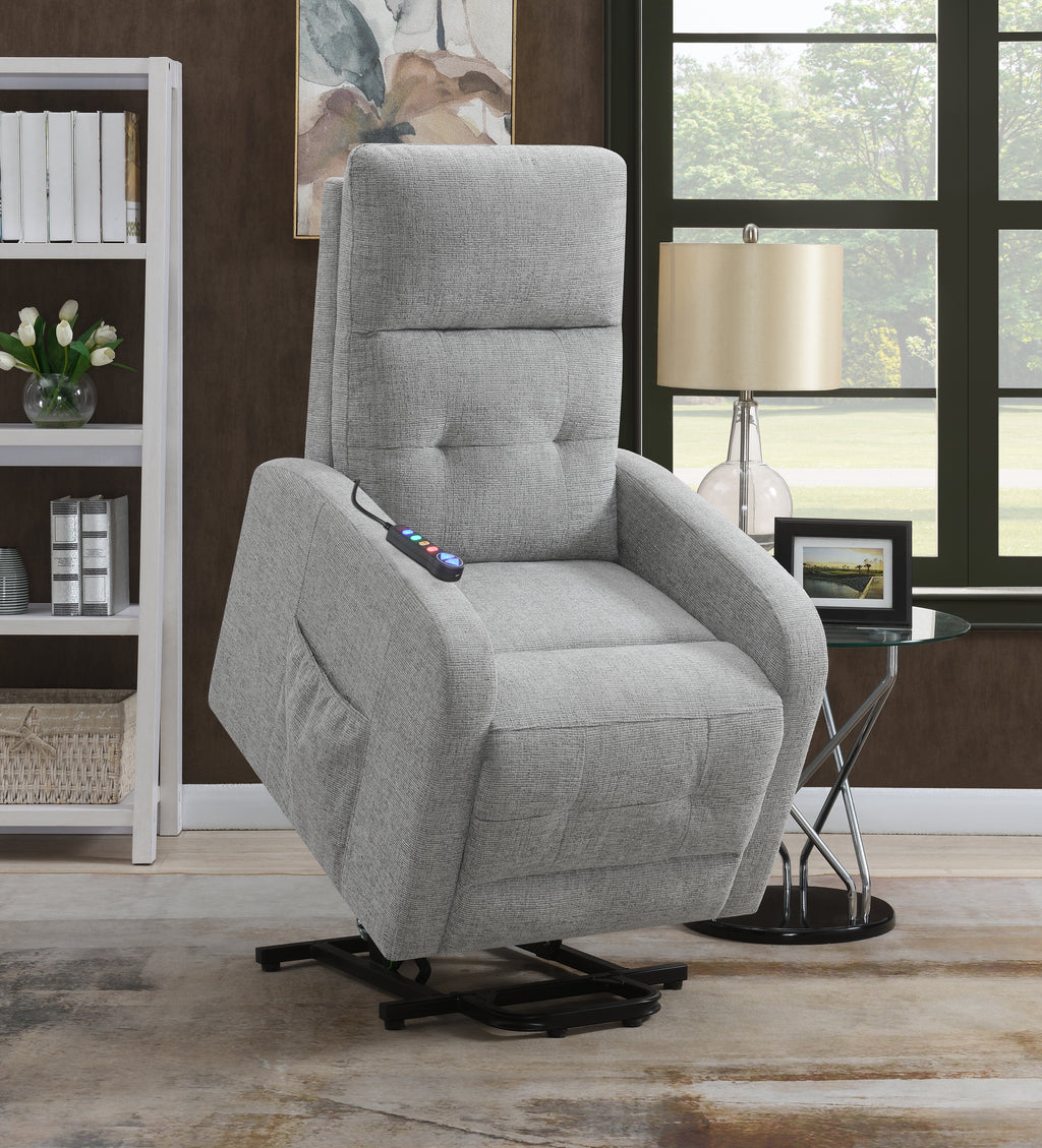 Fabric Power Lift Recliner Chair in Grey or Charcoal