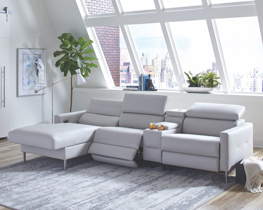 Bertha Light Grey Power Reclining Sectional