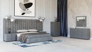 Bucky Grey Upholstered Bedroom Collection