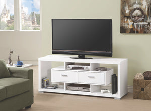 Contemporary TV Stand with Storage Drawers in Cappuccino or White