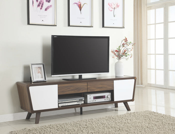 Retro Dual Tone TV Stand in Walnut and White