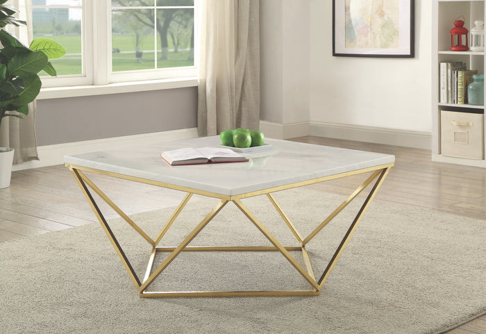 Square Faux Marble Occasional Table Collection